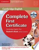 Libro de Complete First Certificate For Spanish Speakers For Schools Pack